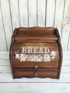 Vintage Roll Top Bread Box with Drawer Large Wooden Breadbox by TheLittleThingsVin on Etsy