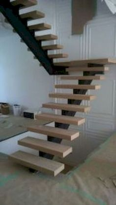 Awesome The beautiful staircase decor of the house becomes comfortable , homemid. Steel Stairs, Loft Stairs, House Stairs, Steel Railing, Metal Railings, Stair Railing Design, Iron Stair Railing, Hardwood Stairs, Concrete Stairs