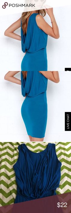 Lulu's backless blue dress Not quite mini, not quite midi. This backless blue dress is sexy and classy. Perfect for going out! Lulu's Dresses Mini
