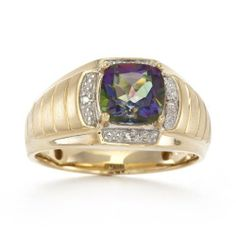 Men's 10k Yellow Gold Mystic Fire Topaz and Diamond Gents Ring $385.00 & this item ships for FREE with Super Saver Shipping and Free Returns. http://www.amazon.com/dp/B004BR3LPY/ref=cm_sw_r_pi_dp_4Go-qb038CYT6