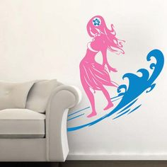 Surfer Chick Wall Decal With Wave - Surfing Wall Decal - Removable Beach Wall Decals - Hawaiian Wall Decal Stickers - Surfing Decals, Beach Wall Decals, Sports Wall Decals, Wall Decal Sticker, Vinyl Wall Decals, Wall Stickers, Surf Room, Cool Walls, Modern Wall, Wall Design