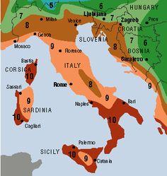 Hardiness Zone Map for South Central Europe Italy, Croatia, Slovenia, Corsica
