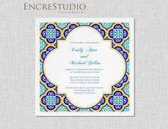 Sample - Spanish Square Tiles Wedding Invitation by encrestudio on Etsy https://www.etsy.com/listing/178569850/sample-spanish-square-tiles-wedding