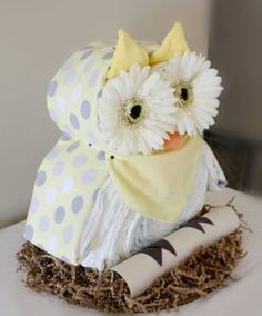 Owl Diaper Cake by MckayCakesnCrafts on Etsy