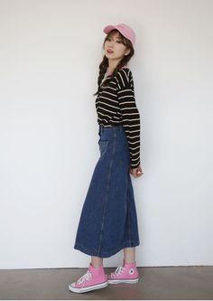 10's trendy style maker 66girls.us! Denim Buttoned Front Midi Skirt (DGDJ) #66girls #kstyle #kfashion #koreanfashion #girlsfashion #teenagegirls #fashionablegirls #dailyoutfit #trendylook #globalshopping