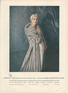 1956 Sophie of SAKS Cerulean Blue EMBA Mink Fur Coat Vintage WOMENS FASHION Ad, Anne Saint Marie model