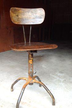 Wood Drafting Stool vintage wood metal stool swivel drafting stool adjustable   metal
