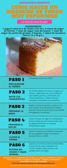 bizcocho de yogur esponjoso Sweet Recipes, Cake Recipes, Dessert Recipes, Desserts, Kombucha, Puerto Rico Food, Yogurt Cake, Delicious Deserts, Pan Dulce