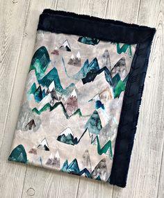 Minky Baby Blanket All Minky Blue Adventure Mountain Blanket