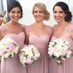 Bridesmaid Dresses 2016 New Cheap Jewel Neck Sheer Dusty Pink Chiffon Long For Wedding Plus Size Empire With Flowers Party Gowns Under 100 Online with $83.77/Piece on Haiyan4419's Store | DHgate.com