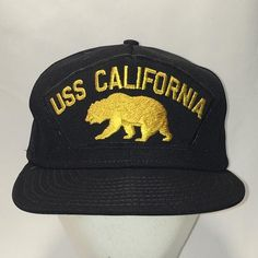 bf33200641d Vintage Snapback Mens Hats USS California Hat Black Gold Baseball Cap Made  In USA Dad Caps