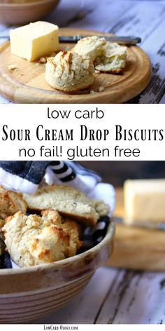 This easy, sour cream biscuits recipe results in delicious, no-fail, tender drop biscuits that are low carb, too! With just 3.2 net carbs each they're a quick fix for carb cravings. These keto friendly biscuits freeze well - great to have on hand! From Lowcarb-ology.com #lowcarb #ketorecipe via @Marye at Restless Chipotle