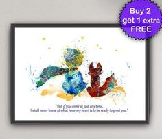 El pequeño príncipe Nº24 lámina poster acuarela - Le Petit Prince y fox arte tintas Saint-Exupéry para niños arte Arte de pared imprimir cartel