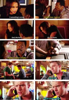 Dawson: Something's wrong. Boden: Sit right here. Come on. Dawson: God, this hurts. Oh, this hurts. Boden: Breathe, come on, breathe. Casey: Hey, chief. Yeah. Tell her I'll be right there. (4x03)