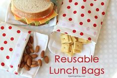 Reusable Lunch Bags (sewing tutorial) from I Heart Nap Time. Forget the panic you feel when you realize you've run out of sandwich bags, now you can reuse these bags! Nice for a sandwich, snack, and more! 50 Diy Crafts, Crafts To Make And Sell, Sewing Crafts, Sewing Projects, Recycled Crafts, Baby Crafts, Easy Projects, Kids Crafts, Craft Projects