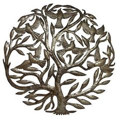 Tree of Life with Birds Wall Hanging - Indoor/Outdoor