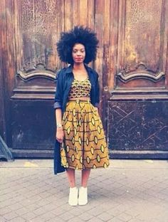 Big Afro hairstyles are basically the bigger and greater version of the Afro hairstyles. Afro which is sometimes shortened as 'FRO, is a hairstyle worn naturally outward by The African American black people. African Fashion Designers, African Inspired Fashion, African Print Fashion, Africa Fashion, African Prints, African Wear, African Dress, African Outfits, Black Girl Fashion
