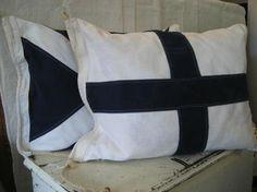 nautical signal flags via the Frugal Farmhouse Design Nautical Bedroom, Nautical Pillows, Nautical Home, Nautical Style, Nautical Flags, Nautical Design, Sailboat Decor, Seaside Style, Coastal Style