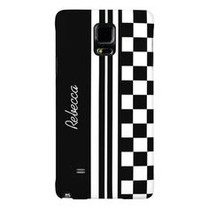 Stylish designer customizable  signature black and white modern stripes and checks , personalized with your own name