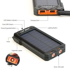 Solar Power Bank Portable External Battery Solar Powerbank Charger with Electric Cigarette Lighter for Smart Phone - People Gadgets Solar Energy Panels, Best Solar Panels, Solar Energy System, Solar Charger, Solar Battery, Phone Charger, Portable Solar Power, Solar Panel System, Alternative Energy