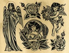 Original works by Paul Dobleman. Ink & watercolor on paper Traditional Tattoo Old School, Traditional Tattoo Design, Traditional Tattoo Jesus, Traditional Tattoo Flash Art, Traditional Tattoos, Old School Tattoo Motive, Old School Tattoo Designs, Cupid Tattoo, Cherub Tattoo