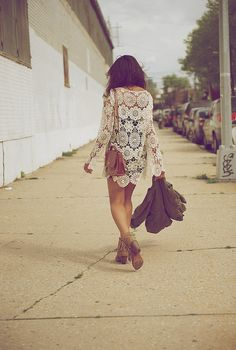 "BOHO CHIC: Sam Edelman Fringe ""Louie"" bootie with Crochet Mini & Army Parka @Where Did U Get That"