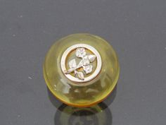 Antique Victorian Adwardian Natural Amber Bakelite Flower Button 7.3grams by wandajewelry2013 on Etsy