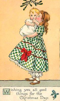 Vintage Little Lass & Baby Christmas Card ~ Peach Background