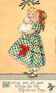 Vintage Little Lass & Baby Christmas Card ~ Peach Background