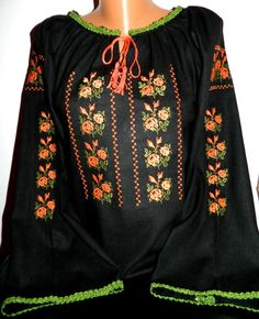 Iie personalizată femei modelul 22 - Special Alese Folk Embroidery, Embroidery Patterns, Machine Embroidery, Antique Quilts, Embroidery Techniques, Boho, Out Of Style, Going Out, Costume
