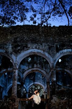 Authentic ruins set a stunning wedding backdrop, captured by Aaron Morris of Chrisman Studios
