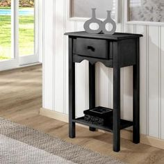 Manhattan Comfort Jay Collection Modern Wooden Sideboard Table with One Drawer and One Shelf Black