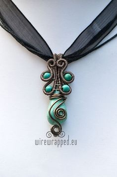 Wire wrapped howlite turquoise teardrop pendant by ukapala on Etsy, €32.00