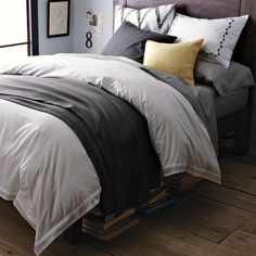 Master Bedroom like the neutrals with a pop of color and the backboard