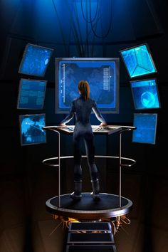 Stock-Illustration : Woman standing at control panel in futuristic control room Source by Technology Gifts, Technology Design, Technology Gadgets, Tech Gadgets, Laser Tag, Spaceship Interior, Star Wars, Futuristic Technology, Futuristic Art