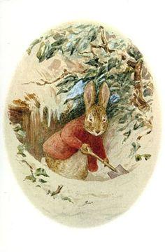 illustration of a rabbit shovelling snow by Beatrix Potter. Beatrix Potter Illustrations, Beatrice Potter, Peter Rabbit And Friends, Bunny Art, Bunny Room, Benjamin Bunny, Rabbit Art, Children's Book Illustration, Fairy Tales