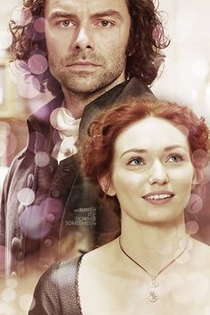 Aidan Turner as Ross Poldark and Eleanor Tomlinson as Demelza Poldark.