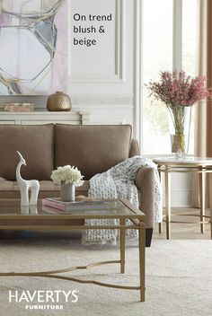 BUDDING BRILLIANCE Brighten up your space for spring with this ladylike look. Soft neutrals combined with on-trend gold and marble accent tables will instantly refresh, while pops of pink mimic the first blush of the season.