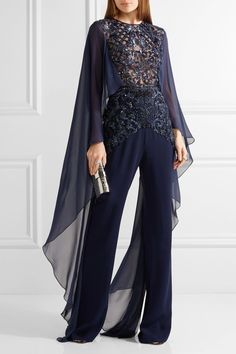 Zuhair Murad - Embellished tulle, chiffon and silk-blend crepe jumpsuit Evening Outfits, Evening Dresses, Embellished Jumpsuit, Sequin Jumpsuit, Zuhair Murad, Overall, Elegant Outfit, Beautiful Dresses, High Fashion