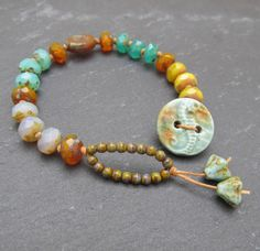 Sea themed button bracelet stacking bracelet knotted by BeadyDaze