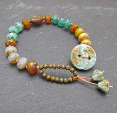 Sea themed button bracelet stacking bracelet knotted by BeadyDaze