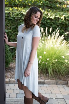 Pink Slate Boutique - Back At It Tee Shirt Dress (Grey), $36.00…