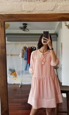 Baby doll dress in peach Simple Dresses, Casual Dresses, Summer Dresses, Linen Dresses, Cotton Dresses, Hijab Fashion, Fashion Dresses, Babydoll Dress, Dress Patterns