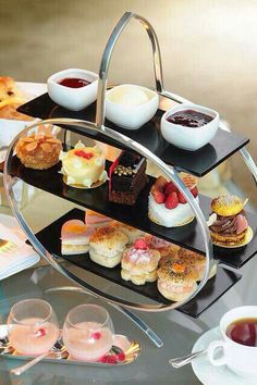Afternoon tea with a modern cake stand