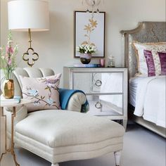 House Tour: Regency Glam by Lucy Interior Design Bedroom Furniture, Home Furniture, Dream Master Bedroom, Interior Design Work, Asian Design, Dresser As Nightstand, Reading Nook, Design Firms, Lounge