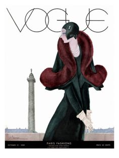 Vogue Cover - October 1929 Poster Print  by Georges Lepape at the Condé Nast Collection