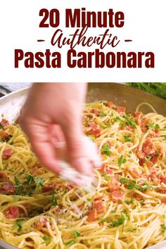 Authentic Pasta Carbonara is easy to make, full of bacon flavor, and smothered in a cheesy egg sauce that will make you crave more. Authentic Pasta Carbonara Bravo Alfa Food Authentic Pasta Carbonara is easy to make, full of bacon fl Easy Pasta Recipes, Spaghetti Recipes, Top Recipes, Easy Dinner Recipes, Chicken Recipes, Easy Meals, Cooking Recipes, Healthy Recipes, Cooking Pasta