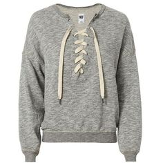 NSF Women's Lace-Up Sweatshirt ($228) ❤ liked on Polyvore featuring tops, hoodies, sweatshirts, gray sweatshirt, laced up top, lace front sweatshirt, lace up sweatshirt and grey top