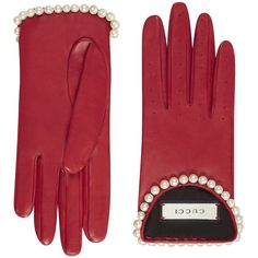 Gucci Red Leather Gloves With Pearls (4.755 BRL) ❤ liked on Polyvore featuring accessories, gloves, red, gucci, red leather gloves, real leather gloves, pearl gloves and red gloves