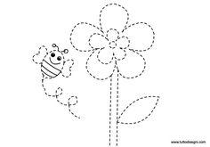 Pregrafismo - Fiore con ape - TuttoDisegni.com